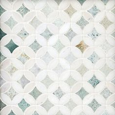 Caribbean Green Thassos Tulip Marble Mosaic - 12 x 12 - 100467042 Stone Tile Flooring, Bathroom Flooring, Bathroom Furniture, Tile Design, Layout Design, Condo Design, Design Ideas, Bath Remodel, Kitchen Remodel