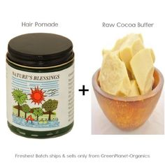 Nature's Blessing Hair Pomade + 16oz Raw Cacao Butter - http://essential-organic.com/natures-blessing-hair-pomade-16oz-raw-cacao-butter/