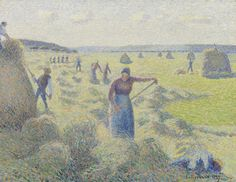 https://flic.kr/p/Eh9DXM | Camille Pissarro - Haymaking, Éragny [1887] | Camille Pissarro's fresh, pastel-coloured painting, shows people bringing in the hay at Éragny, where the artist lived. The haystacks and peasant figures make for a dynamic composition. The paint has been applied in dots and short strokes of contrasting colour, which deftly convey the shimmering light of a summer's day. Pissarro experimented with the Neo-Impressionist or Pointillist stipple technique for some time…