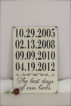 Personalized Important Dates Sign, Mothers Day, Anniversary Date, Birth Dates, Family Sign, Wood Wall Art, Wood Sign, Vintage Sign. $46.00, via Etsy.