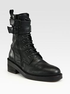 sexy militaryAnn Demeulemeester - Leather Lace-Up Buckle Ankle Boots