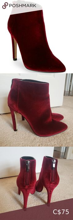 Womens Shiny Velvet Zip Back Stiletto High Heel Slip On Short Ankle Boots Size