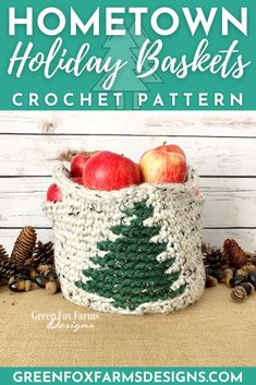 Crochet Hometown Holiday Baskets. Holiday basket crochet pattern using super bulky yarn. Red basket with white snowflake and beige tweed basket with dark green tweed pine tree. Crochet Pattern by greenfoxfarmsdesigns.com Crochet Ornament Patterns, Crochet Ornaments, Christmas Crochet Patterns, Christmas Baskets, Red Christmas, Christmas Stuff, Red Basket, Crochet Home Decor, Craft Markets
