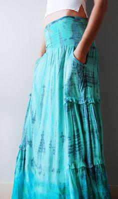 Lightweight aqua peasant skirt