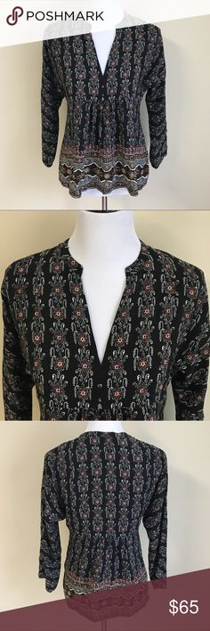 """NWT Madewell Silk Floral Boheme Popover Shirt Pop-on silk peasant top w/ an intricate border print inspired by a vintage tapestry. 100% silk. Size: XS 