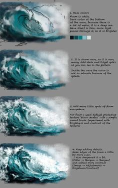 Wave Tutorial by Fievy on DeviantArtSupport me on patreon for mooooore www patreon com fievi aStormy water step by step painting tutorial.ART In G-Datenbots eingeschaltet ,How to Paint Waves with Acrylic Paint Digital Painting Tutorials, Digital Art Tutorial, Art Tutorials, Painting Lessons, Painting & Drawing, Water Drawing, Water Art, Painting Grass, Painting Of Water