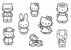 Coloring plays and frames ideas on pinterest for Coloring pages of hello kitty and friends