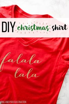 This DIY Christmas shirt is so cute! It's a perfect Christmas craft tutorial. You can make this shirt using a Cricut Explore Air and Iron on Vinyl. It is a super cute and festive project. It makes a great gift idea!