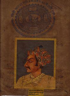 Rajasthani Painting Jaipur Maharaja Handmade Miniature Stamp Paper Portrait Art