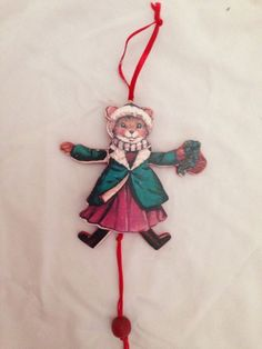 Vintage Wooden Mouse Girl PULL STRING Toy Ornament JUMPING JACK