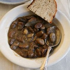 Simple country stew that's going to make your kitchen smell SO good! Fava Bean Stew with Garlic, Thyme, and Bay Leaves
