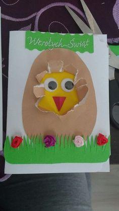 Kartka wielkanocna kurczak art for kids Toddler Crafts, Preschool Crafts, Fun Crafts, Paper Crafts, Easter Arts And Crafts, Spring Crafts, Holiday Crafts, Chicken Crafts, Easter Activities