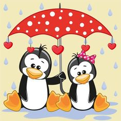 Illustration about Greeting card two Penguins with umbrella. Illustration of image, cute, mothers - 55182727 Penguin Art, Penguin Love, Cute Penguins, Cartoon Cartoon, Share Pictures, Cute Pictures, Umbrella Cartoon, Animated Gifs, Sketches