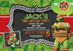 Teenage mutant ninja turtle party invitation for a kids Pizza Birthday party. Pizza Party Birthday, Birthday Parties, Mutant Ninja, Teenage Mutant, Kids Pizza, Ninja Turtle Party, Bar Mitzvah, Sweet Sixteen, Tmnt