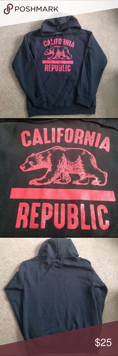 Comfy hoodie Worn once men's black hoodie with red glittery California Republic design Shirts Sweatshirts & Hoodies