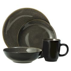 Threshold™ Cambridge Reactive Round 16 Piece Stoneware Dinnerware Set - Gray