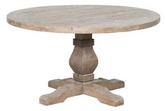 Classic Home Caleb Round Dining, $899. A pedestal leg that is carved, hand distressed, and hand finished in a soft Desert stain, carries a lovely, solid wood round table top that has the same distressing and finish. A great table for a smaller dining room, this one will provide years of rustic, yet stylish service.