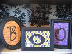 I could use cheap frames, spray painted black. And tons of scrapbook papers and letters to make these!