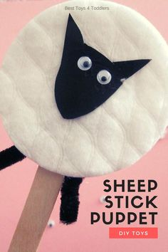 Make a simple sheep stick puppet for pretend play and sing along with a children's favorite nursery rhyme Baa Baa Black Sheep! Easy Arts And Crafts, Easy Crafts For Kids, Toddler Crafts, Preschool Crafts, Simple Crafts, Sheep Nursery, Kids Nursery Rhymes, Nursery Ideas, Baa Baa Black Sheep Crafts