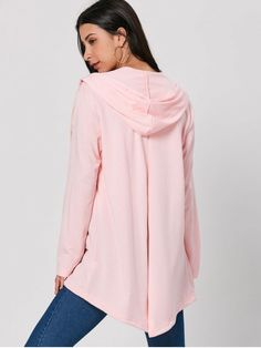 Drawstring Long Hooded Coat - PINK XL