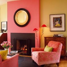 Decoration pink yellow wall color living room colour combination for interi Colourful Living Room, Simple Living Room, Living Room Colors, Living Rooms, Bedroom Colors, Room Color Combination, Colour Combo, Colour Combinations, Color Schemes