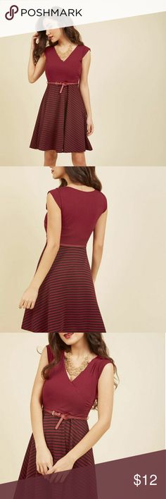 Modcloth Cranberry Striped Dress w/ Belt Large Modcloth Cranberry Striped Dress w/ Belt Large  Fun, stretchy cranberry and black dress with belt. Worn only 1-2 times.  The price is negotiable. MAKE ME AN OFFER! Dresses