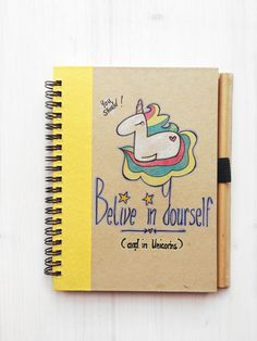 Recycled Unicorn Notebook with original drawing and colours with recycled pencil - Believe in Yourself (and in Unicorns) by Mammabook on Etsy