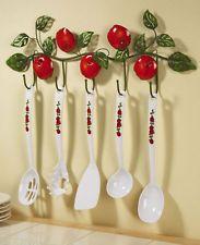 Apple Decor Utensils And Hanging Rack Red White Green Kitchen Decor