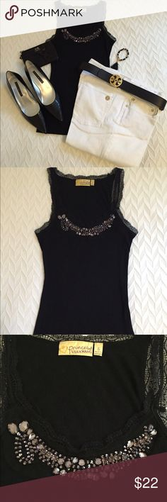 Princess Vera Wang Camisole💞 Beautiful camisole in black with lace & gunmetal rhinestones. The material is a 65% polyester, 35% rayon. The size is small, but will also fit a medium💞 Simply Vera Vera Wang Tops Camisoles