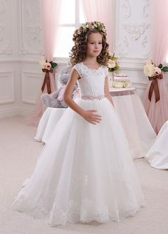 Ivory lace flower girl dress birthday wedding party holiday buy discount fabulous tulle queen anne neckline a line bridesmaid dresses with beads at dressilyme mightylinksfo