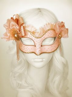 Light Salmon Pink And Gold Masquerade Mask   Venetian by SOFFITTA