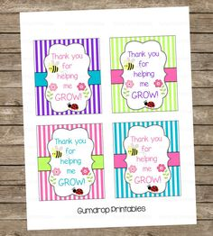 Thank You For Helping Me Grow ~ Teacher Appreciation Flowers Plant Gift Tag Label Sticker ~ Printable ~ DIY ~ Instant Download