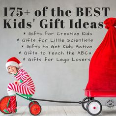A complete list of over 175 kid gift ideas to make Christmas or Birthday shopping fast and easy! Our list is sorted by topics to help you find the right gift the first time. Gift ideas for kids who love science, arts and crafts, active kids, kids who love Legos, and kids learning the alphabet! 175  of the Best Kids' Gift Ideas to make your shopping easier. www.coffeeandcarpool.com #holidaygiftideas #holidaygifts #kidsgiftideas