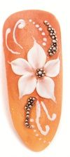 <p>4. Finish the flower by creating five 3-D petals, and then use hard gel to adhere the caviar beads in the center and around the flower. With a detailer pen, paint some white lines and dots to accent.</p>