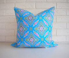 Blue and Pink Floral Pillow Cover  Shabby Chic by habitationBoheme