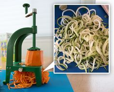 """#Spiralized veggies are popping up everywhere! Have you tried making them yet?  The #Benriner Spiral Slicer (found at fine kitchen shops nationwide) is an ideal tool for curling or """"spiralizing"""" your veggies!  http://www.notcot.com/archives/2014/03/spiralizing-benriner-spiral-sl.php"""
