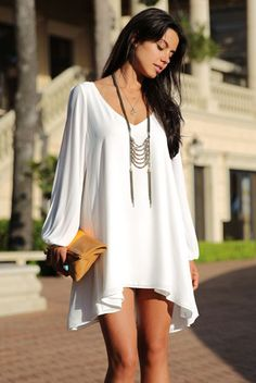 White Chiffon Leisure Mini Skater Jersey Dress