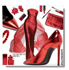 """""""#PolyPresents: Statement Shoes"""" by marionmeyer on Polyvore featuring Mode, Yves Saint Laurent, Lorenzo Riva, Max Factor, Marc Jacobs, Shiseido, NARS Cosmetics, Kevyn Aucoin, contestentry und polyPresents"""