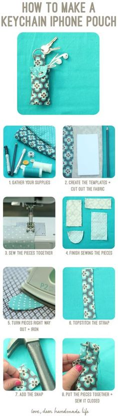 How to Make a Keychain Ear Bud Pouch - Dear Handmade LIfe
