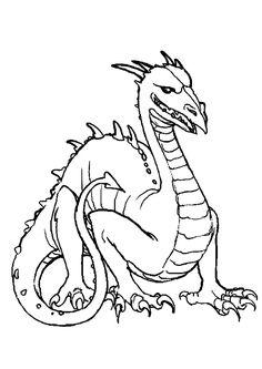 Dessin à colorier d'un dragon très féroce