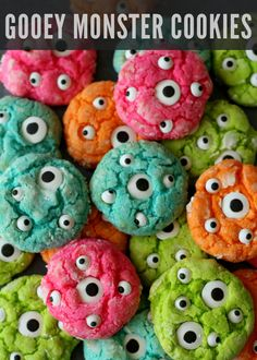 Gooey Monster Cookies Recipe on { lilluna.com } ADORABLE!! #MonstersU