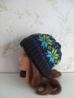 Women hand knitted black-multicolor Fair isle hat/ slouchy beanie with knitted in design by MyOublawness on Etsy (null)