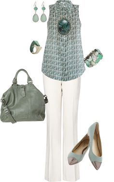 """""""white pants w/ aqua"""" by themakeupbag on Polyvore"""