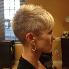 Blonde Pixie clipper cut