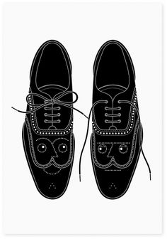 shoe illustration black and white