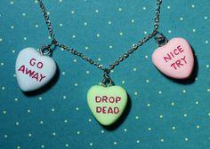 Gothic Lolita  Candy Heart Pendant  Charm Necklace  - Triple Heart Combo Rockabilly Psychobilly. $35.32, via Etsy.