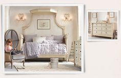 Love this - The sculpted alcove bed and the pintucked bow duvet. I wonder how hard it would be to make the duvet?