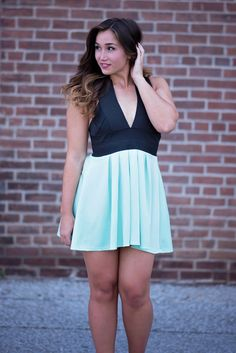 Mint For A Night Out Dress, $44.00 #dress #mint #black #thickstraps #hot #crisscross #flared #singlethreadbtq #shopstb #boutique