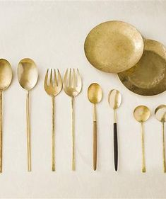 Made out of a studio in Setouchi City, Okayama, a line of Brass Flatware by Lue is available directly through the studio online. Küchen Design, House Design, Kitchenware, Tableware, Kitchen Accessories, Metal Working, Dinnerware, Kitchen Dining, Gold Kitchen