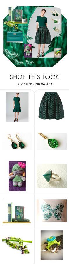 """Green day"" by nanitas23 ❤ liked on Polyvore featuring Oscar de la Renta, Mary Katrantzou and Hermès"